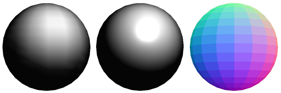 Three spheres with different shaders