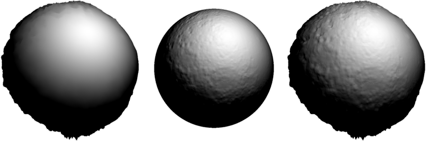 Spheres showing displacement and normal maps