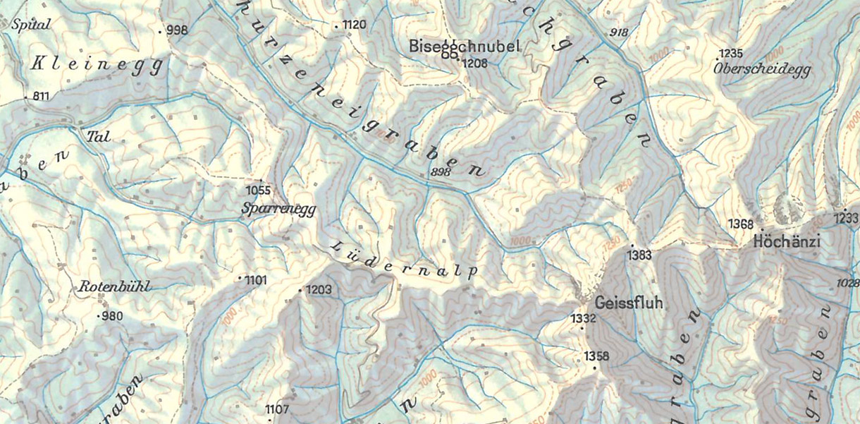 Imhof Map of Emmental from Swiss High School Atlas