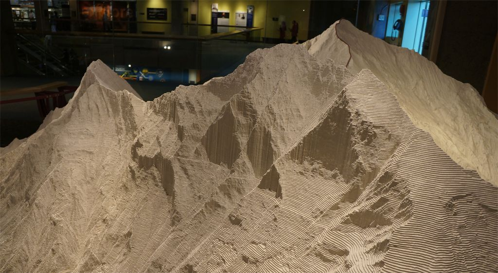 A large white model of Mt. Everest